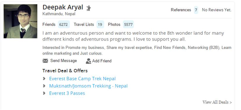 Example of Touristlink Profile in Search Results.