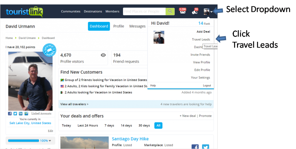 """To find leads just click """"Travel Leads"""" from the drop down."""